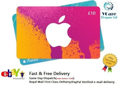 iTunes GiftCard £10 Apple iTunes Code £10 UK PayPal verified e-mail Delivery T&C