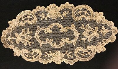 Tambout Lace Antique Oval Doily Victorian Chain Stitch Embroidery 11 x 5 1/2""