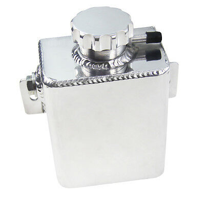 Aluminium Fabricated Coolant Expansion Catch Tank Can & Cap Silver Universal