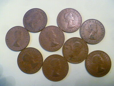9 1960s PENNIES - CIRCULATED CONDITION