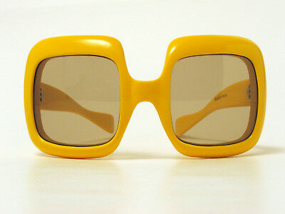 VINTAGE HUGE OVERSIZED SQUARE SUNGLASSES 1970s GLASS LENSES FRANCE YELLOW RARE