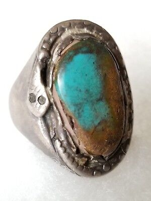 NAVAJO Sterling Silver SNAKE WRAPPED ROYSTON TURQUOISE GEMSTONE RING Native