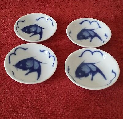 Attractive Set/4 Cobalt Blue & White Sushi Dipping Dishes  Fish Motif Great Gift