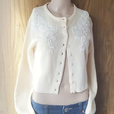 Vintage Womens Sz S Creme Beaded Cardigan Pearl Buttons Lambswool Angora