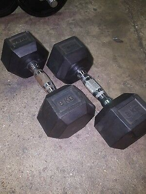 2 × 8kg rubber hex dumbbells weights