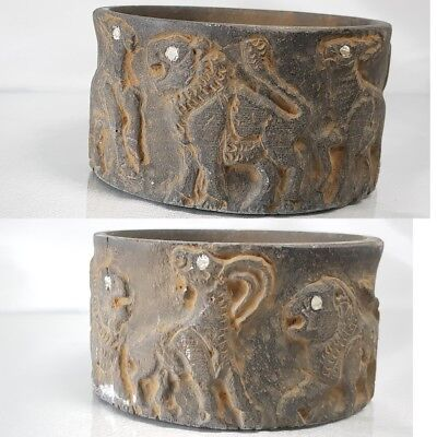 Ancient Wonderful Stone VASE depicts two Lions 3 Deers  surrounding  #