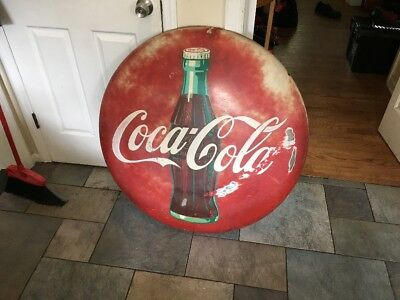 "1959 36"" Coke Button Sign"