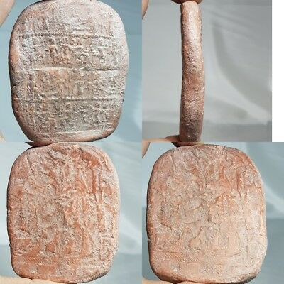 Very Old Rare Terracotta Stone Tablet With All medieval  Kingdom Figures  #d1