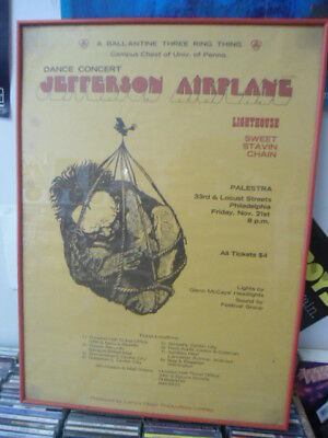 Jefferson Airplane Vintage Concert Event Poster in Frame