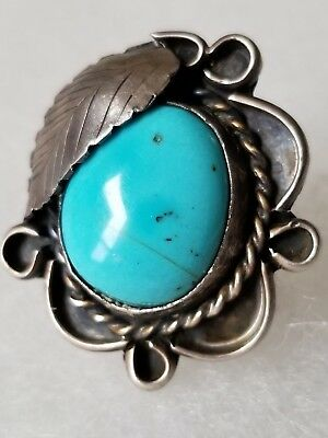 NAVAJO Sterling Silver LEAF FLUTED TURQUOISE GEMSTONE RING Native American