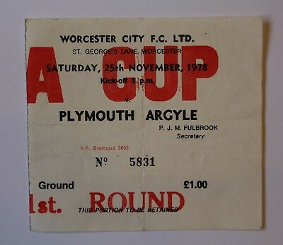 FA Cup 1st Round Ticket Worcester City F. C. Ltd v Plymouth Argyle November 1978