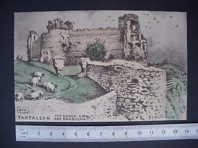 Old Vintage Postcard R.P. Phillimore North Berwick Scotland Tantallon Castle 410