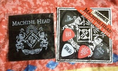 Bundle: Pack of 5 Official Machine Head Guitar Picks and a Machine Head Patch