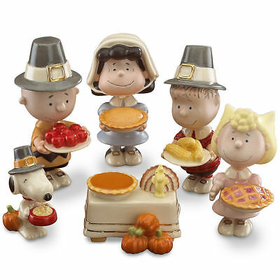 New Lenox Peanuts Thanksgiving 6-Piece Figurine Set Snoopy Charlie Brown Lucy