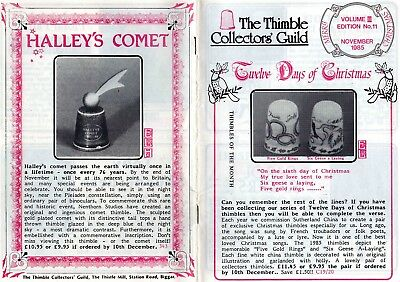 The Thimble Collectors Guild Monthly Magazine November 1985 Vol III Edition No11