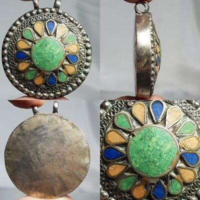 Silver Old Wonderful Turquoise lapis stone inlaid Lovely Pendant   #d1
