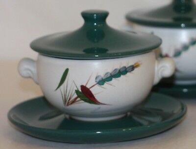 Denby Greenwheat soup bowls, lids and trays / saucers