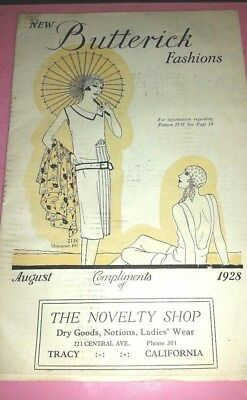 Antique Butterick Fashions 1928 Booklet of Patterns Flapper dresses Tracy,Calif