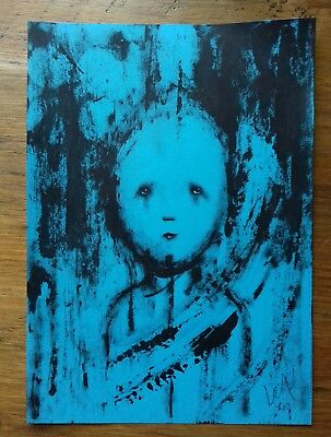 Original A5 portrait sketch in acrylic paint. Contemporary outsider art