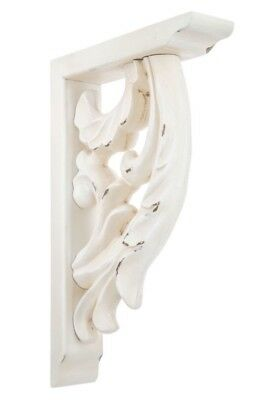 LARGE RUSTIC CORBELS / BRACKETS Distressed White Flourish Wood Corbels Set Of 2