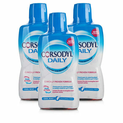 Corsodyl Daily Rinse Alcohol Free Cool Mint Mouthwash 500ml  - 3 Packs