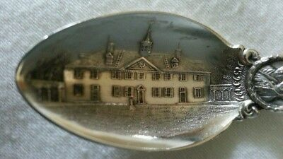 Antique Sterling Souvenir Spoon Mount Vernon 13 Star Flag Masonic G Washington