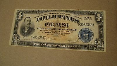 PHILIPPINES.... 1922 One Peso Victory Banknote Blue Seal Circ