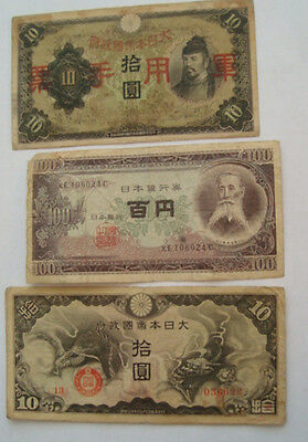 JAPANESE WWII INVASION BANKOTES CCUPATION INDO-CHiNA 1938, 1939, 1953 YEN CIRC
