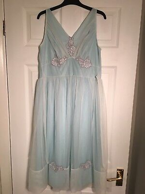 Vintage 1950s Nightie Night Dress Blue Gown Size Small Lingerie