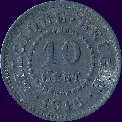 1916 Belgium 10 Centimes Coin (Dot On Both Sides Of Date)