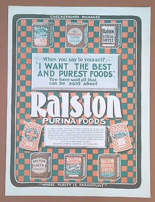 Antique 1903 Kitchen Art Print AD Ralston Purina Foods Checkerboard Packages