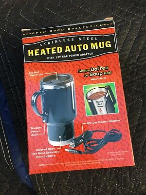 Stainless Steel Heated Auto Mug With 12V Car Power Adapter No Spill Lid -Nib-