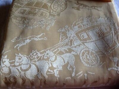Antique  Fabric victorian dog horse stagecoach figural Runner