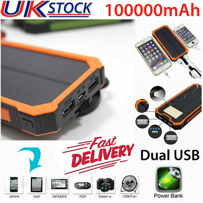 Waterproof 100000mah Power Bank 2 USB LED Pack Battery Charger For Mobile Phone