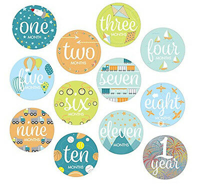Baby Boys Monthly Milestone Belly Stickers Photo First Year