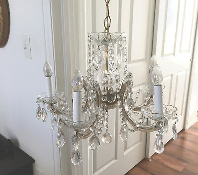 Vintage Beautiful Glass Clad 5 Arm French Crystal Chandelier