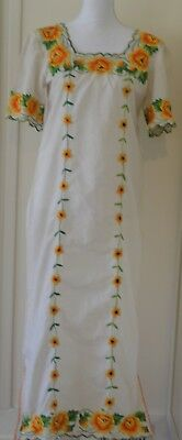 Vintage Yucatan Long Dress Mexican Fiesta Hand Embroidered Roses Floral XS