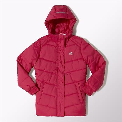 Adidas Girls Padded Jacket Juinor Youth Hooded Jacket Coat - Pink
