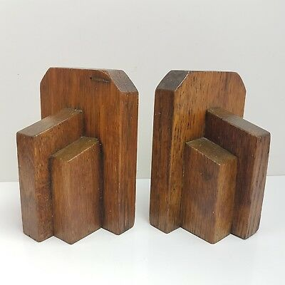 Vintage 1930s Solid Wooden Wood Book Ends Art Deco (o)