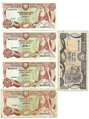 Cyprus 5 Banknotes Lot Mix 500 Mils 1982 50 1988 1987 1 1989 NR Free Post