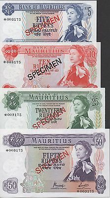 Mauritius 5,10, 25 & 50 Rupees ND. 1978 P 30s to P 33s Uncirculated Banknote
