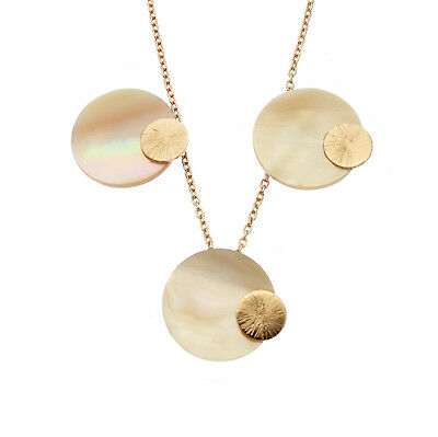 Mother of Pearl Disc Pendant Necklace & Earring Set Rose Gold or Sterling Silver