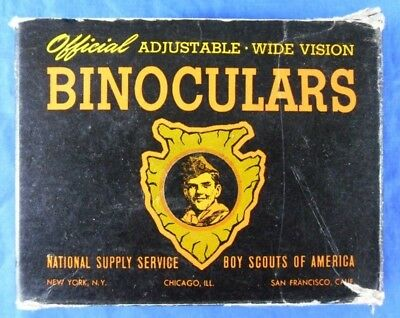 Old BSA Boy Scouts of America Official Adjustable Wide Vision Binoculars in Box