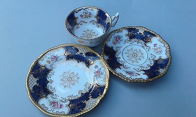 19th C Antique Coalport batwing tea trio ,cobalt,cup,saucer,plate handpainted