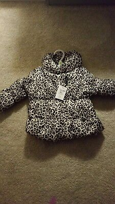 Baby girls winter coat 12-18 months padded leopard print. New