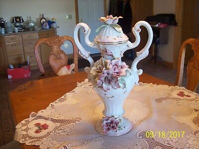 Capodimonte Large Tall Vtg. Handled Urn/Mantel Vase Floral Design Made In Italy