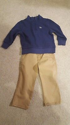 Toddler boy outfit gymboree old navy 18-24 months zip sweater twill pants EUC