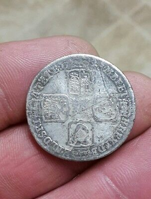 George II silver shilling coin dated 1745 found metal detecting