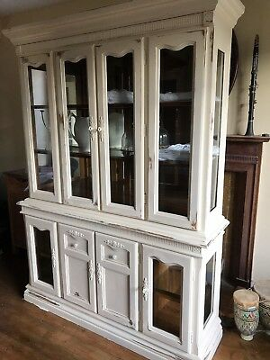 Beautiful white antique distressed painted solid wood dresser kitchen bathroom