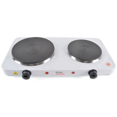 Lloytron KitchenPerfected Hotplate Double Cooker Table Top 2500W White E4201WH